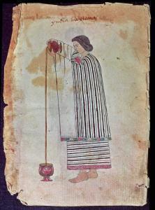 Scéna z poloviny 16. století představuje domorodého Mexičana připravujícího čokoládu.